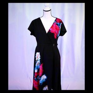 Jennifer Lopez black and Flowered Dress size 14